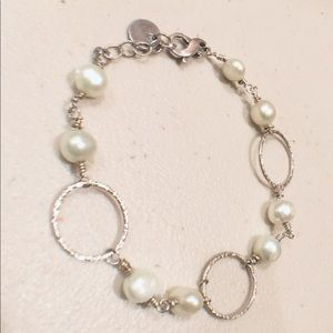 Bracelet with fresh water pearls and 925 silver